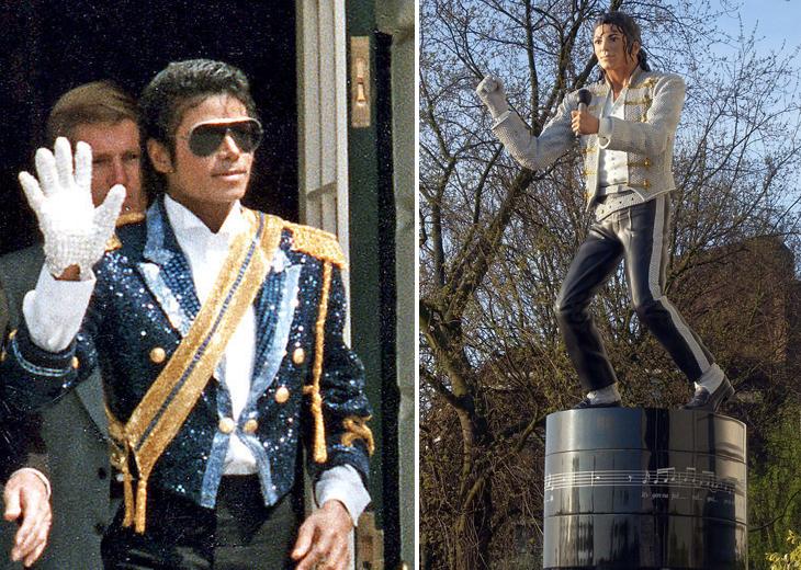 פסלי הוקרה שלא דומים למקור: מייקל ג'קסון משמאל ומימין הפסל המוזר שלו