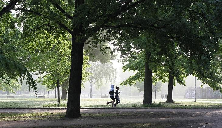 טיפול בדיכאון חורף: זוג רץ בפארק