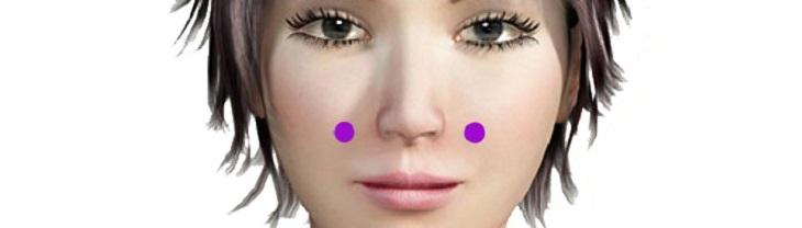 נקודות לחיצה לטיפול בתסמיני שפעת: נקודת יופי הפנים