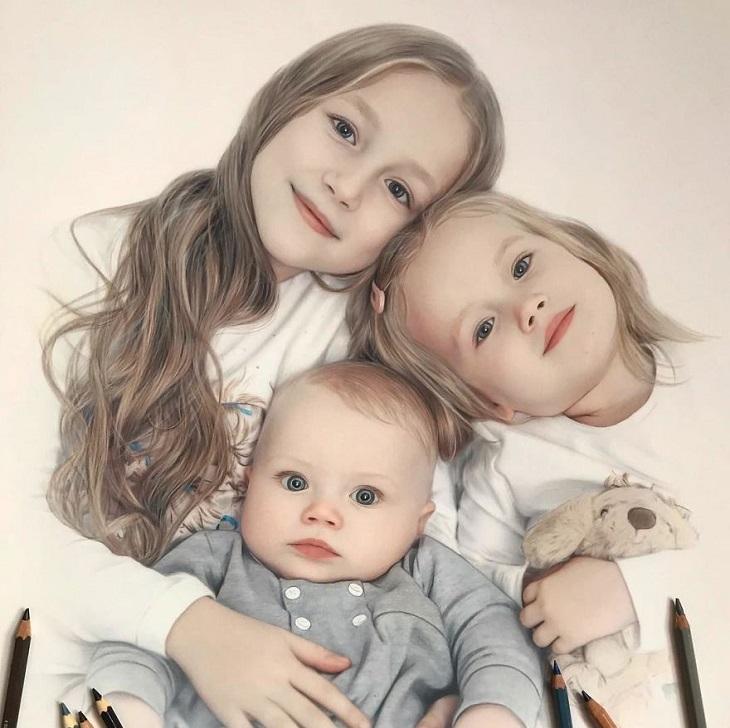 דיוקנאות מצוירים שנראים מציאותיים: ילדים יפים