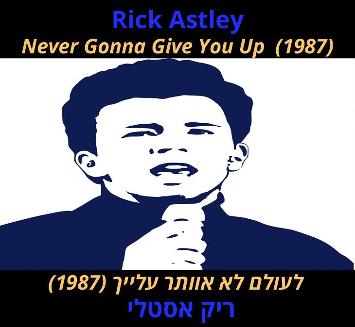 """מצגת שיר """"לעולם לא אוותר עלייך"""": """"ריק אסטלי - לעולם לא אוותר עלייך (1987)"""""""