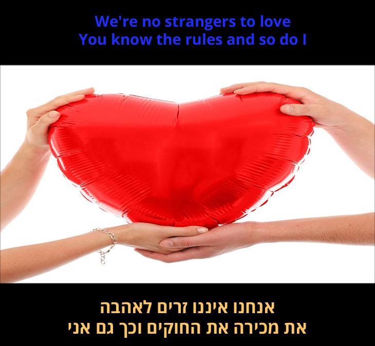 """מצגת שיר """"לעולם לא אוותר עלייך"""": """"אנחנו איננו זרים לאהבה, את מכירה את החוקים וכך גם אני"""""""