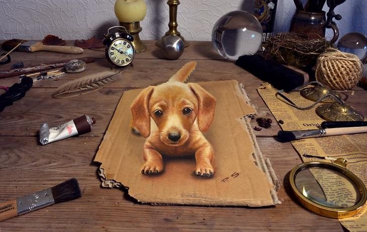 ציורי תלת ממד: כלב יושב על קרטון