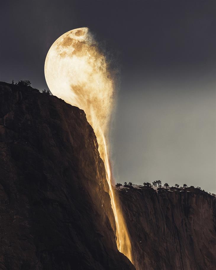 תמונות משולבות: ירח הנשפך למפל