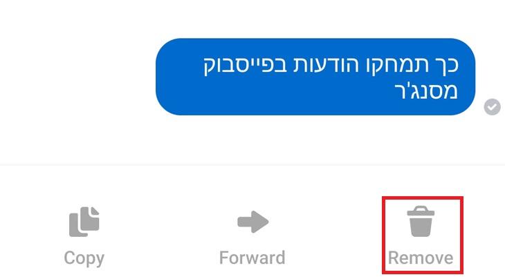 כך תמחקו הודעות בפייסבוק מסנג'ר: לחיצה על אפשרות המחיקה בפייסבוק מסנג'ר בטלפון החכם