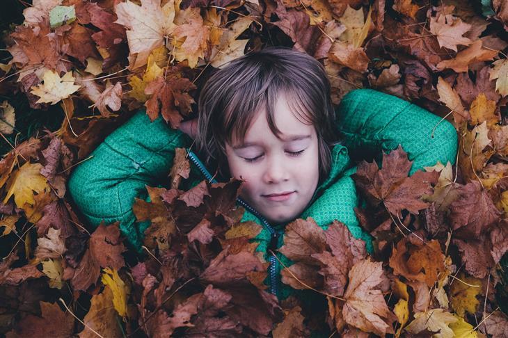 עצות מפסיכולוגית לגידול ילדים: ילד שוכב בתוך ערימת עלים