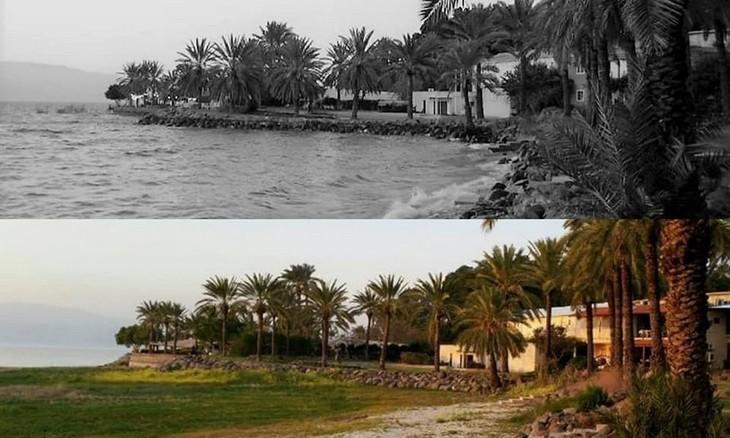 מקומות בישראל בעבר ובהווה: חוף קיבוץ עין גב - 2003 לעומת 2017