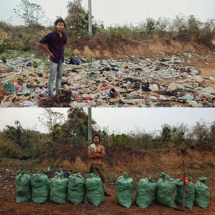 אתגר הטראשטג: בחור מנפאל באתר מלוכלך ולצד שקיות זבל כשהוא נקי