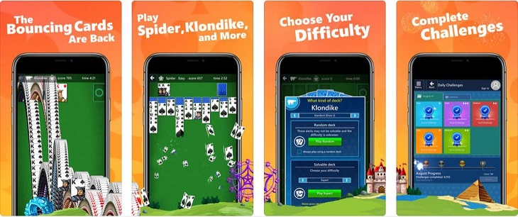 אפליקציות משחקי קלפים: צילומי מסך של המשחק Microsoft Solitaire Collection