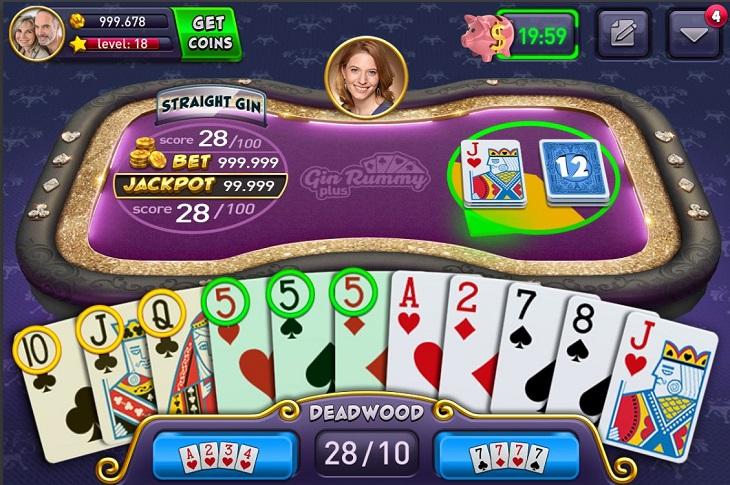אפליקציות משחקי קלפים: צילום מסך של המשחק Gin Rummy Plus