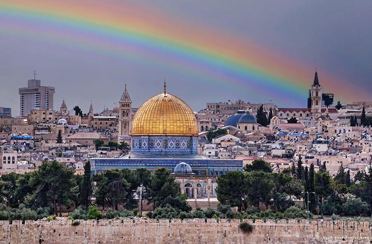 תמונות מדהימות של ירושלים: קשת בשמים מעל העיר העתיקה