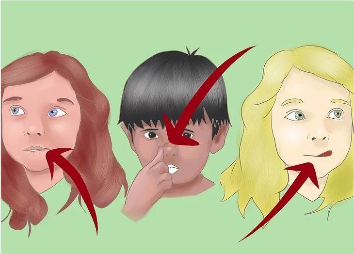 סימנים שילדים משקרים: ציור של שלושה ילדים מבצעים מחוות פנים שונות