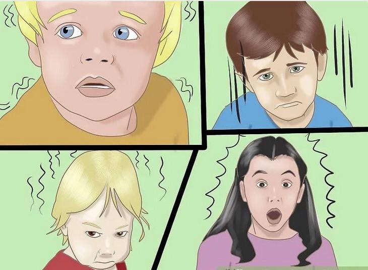 סימנים שילדים משקרים: ציור של ארבעה ילדים מביעים רגשות