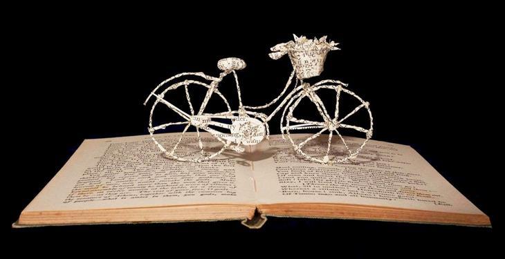 פסלים מנייר בתוך ספרים: אופניים