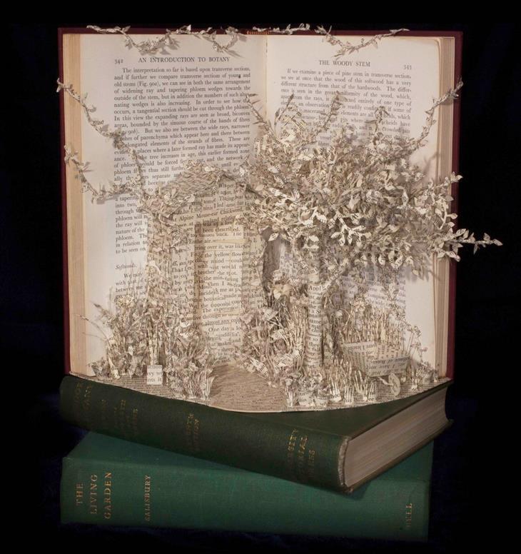 פסלים מנייר בתוך ספרים: גינה פורחת