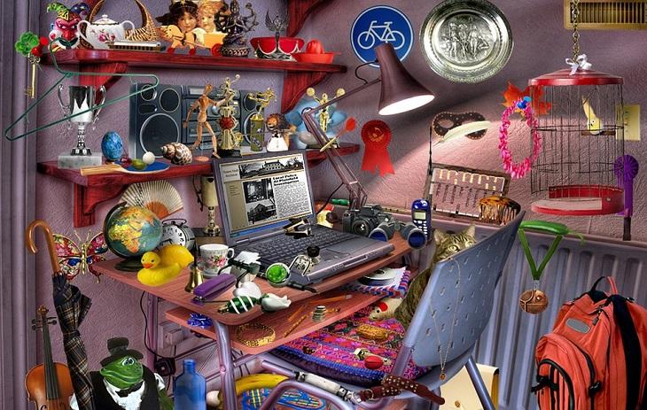 ניקוי חדרי ילדים: שולחן עבודה מבולגן של ילד