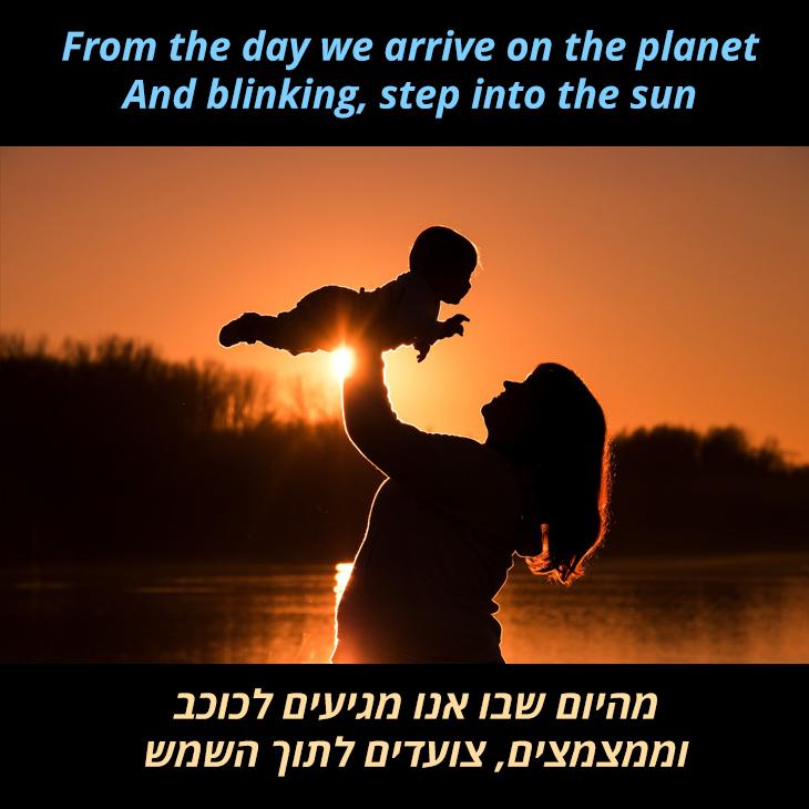 תרגום לשיר מעגל החיים של אלטון גון: מהיום שבו אנו מגיעים לכוכב וממצמצים, צועדים לתוך השמש