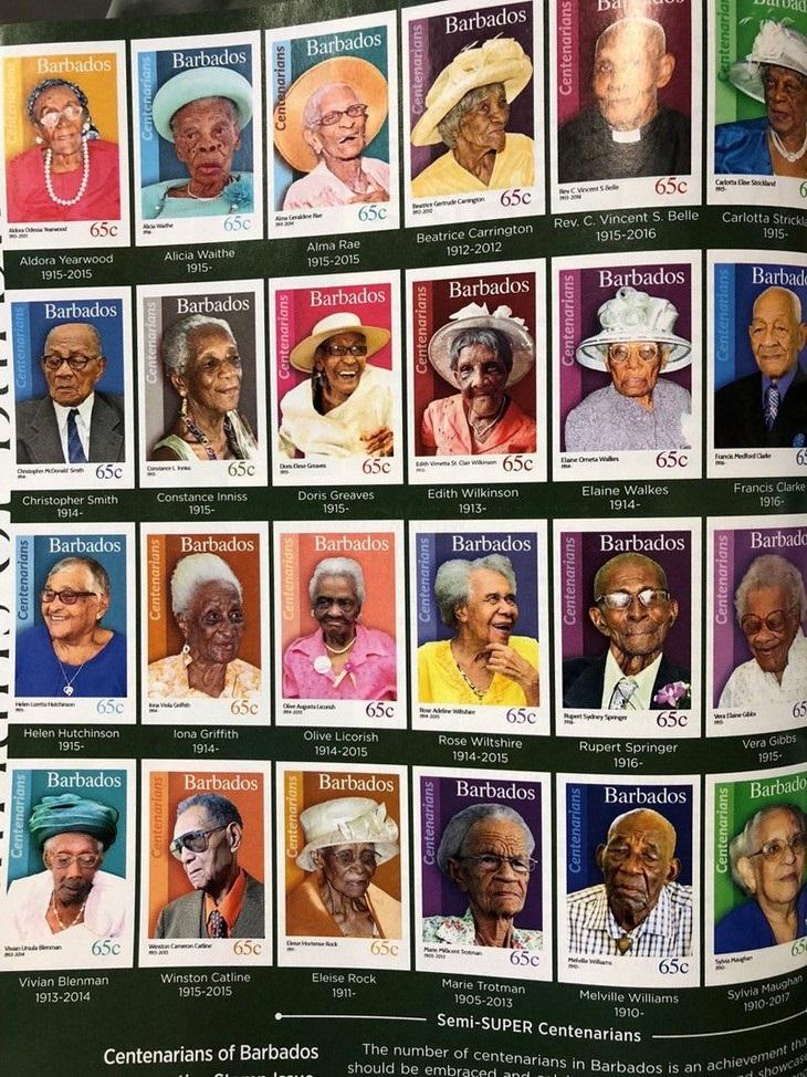 תמונות מפתיעות של דברים לא שגרתיים: דרת בולים מיוחדת של מדינת ברבדוס לכבוד תושבים בני 100 שנים ויותר.