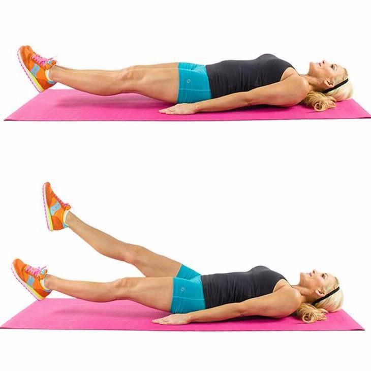 תרגילי כושר לחיטוב הבטן: הרמת רגליים בשכיבה