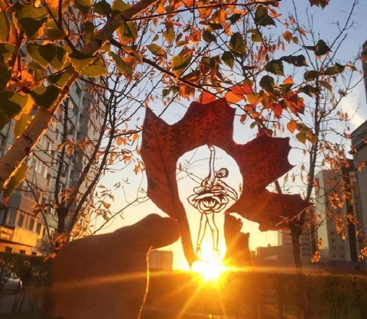 אמנות מעלי שלכת: בלרינה רוקדת על שמש