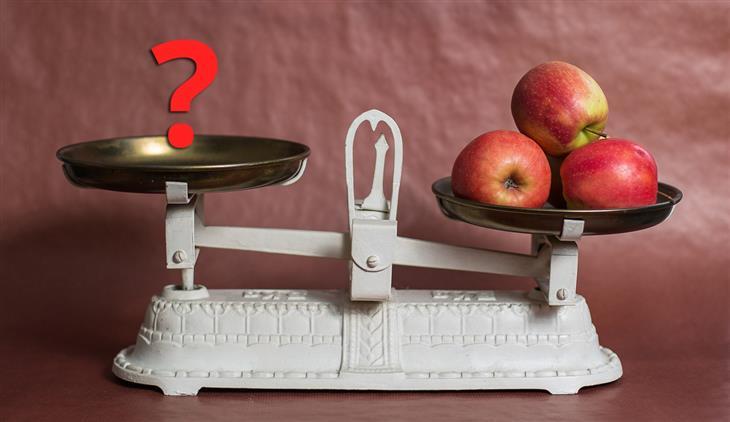 שאלות נפוצות שאנשים שואלים תזונאים: תפוחים וסימן שאלה על מאזניים
