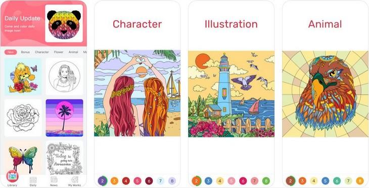 אפליקציות ציור וצביעה: מסכי האפליקציה צביעה לפי מספר