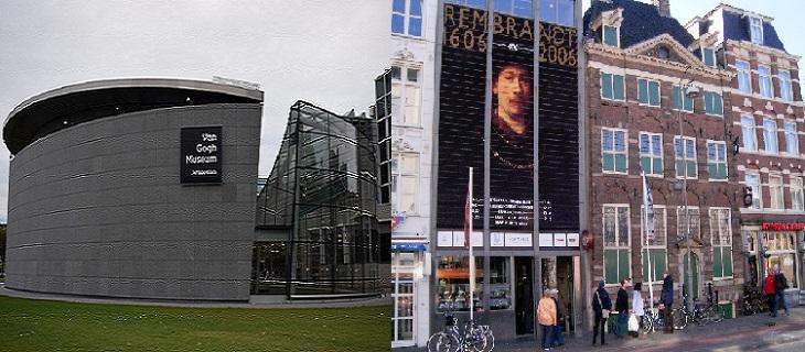 אתרים באמסטרדם: צילום משותף של מוזיאון בית רמברנדט מימין ומויזאון ואן גוך משמאל