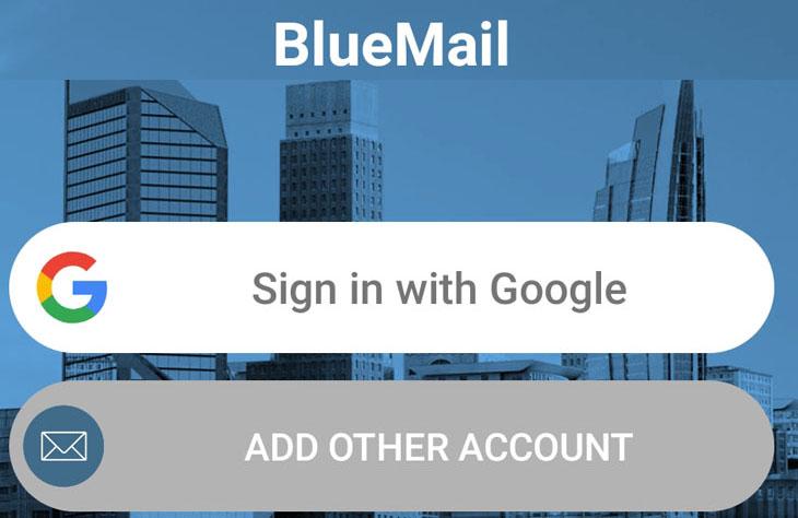 אפליקציית BlueMail: התחברות ראשונית לשרת מייל
