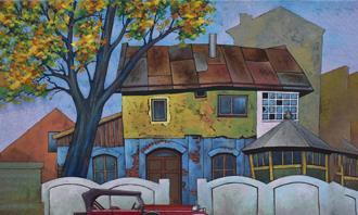 מצא את ההבדלים: ציור של בית פרברי