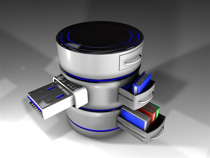 מדריך לשימוש בתוכנה Disk Drill: איור דיגיטלי של מגירות אחסון למסמכים עם יציאת USB