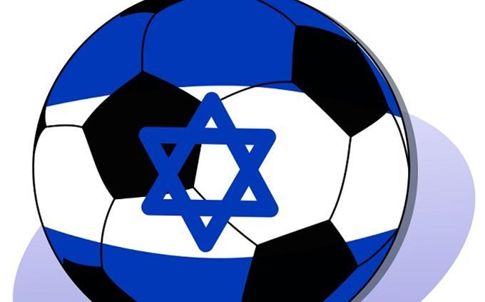 טריווית הישגי ספורט ישראלי: איור של כדור כדורגל בצבע כחול לבן עם כדור כדורגל עליו