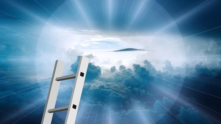פעולות שצריך לעשות כדי להגיע לאושר: איור של סולם המגיע אל השמיים