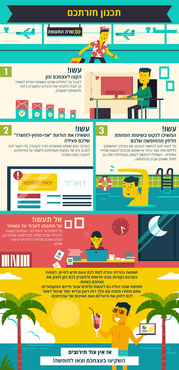 מדריך להירגעות בחופשה למכורים לעבודה