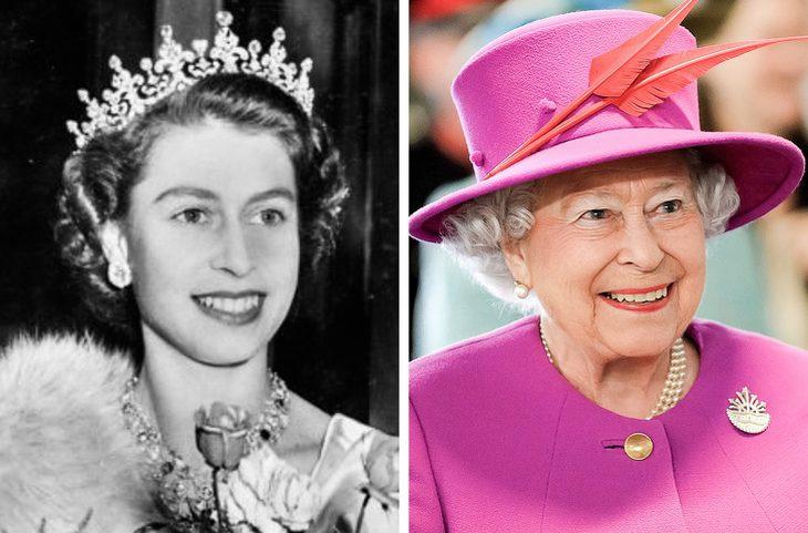 מפורסמים בני 100: המלכה אליזבת' בצעירותה והיום
