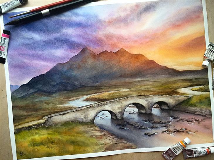 ציורי מים של מקומות ברחבי העולם: גשר באי סקאי