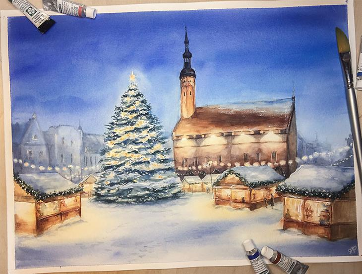 ציורי מים של מקומות ברחבי העולם: דוכנים בחג המולד בטאלין