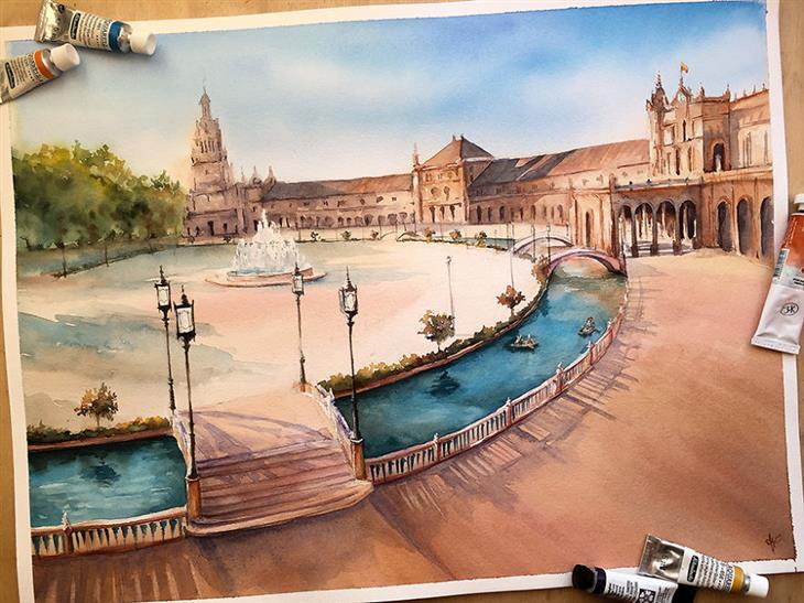 ציורי מים של מקומות ברחבי העולם: פלאסה דה אספניה