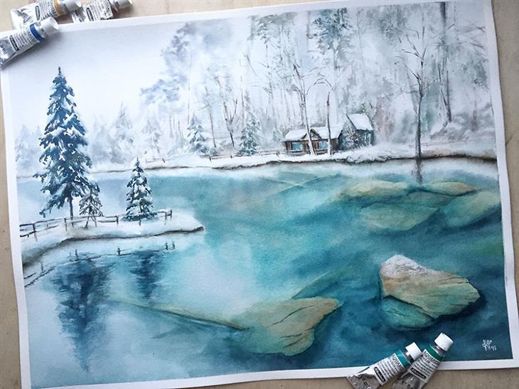 ציורי מים של מקומות ברחבי העולם: אגם בלאוזי קפוא