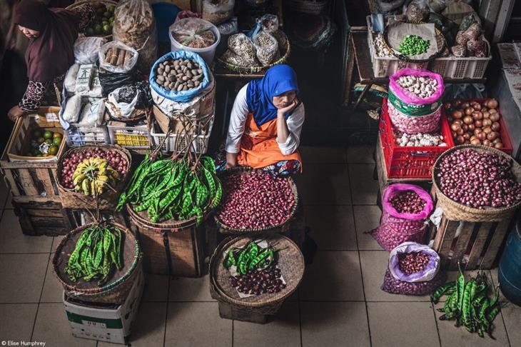 תחרות צילום האוכל פינק ליידי 2019: אישה יושבת בחנות ירקות ונראית עצובה