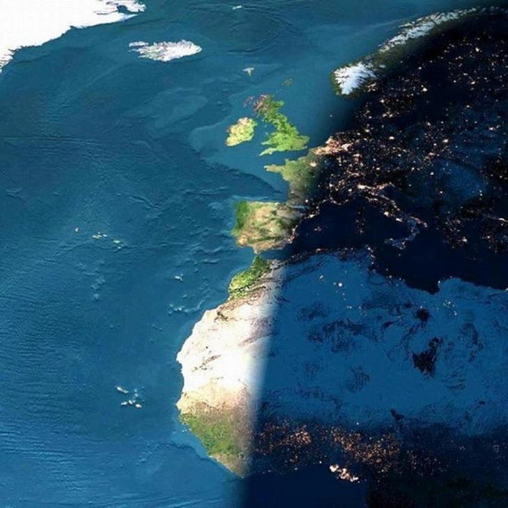 תמונות טבע כובשות עין: תיעוד עילי של שקיעת השמש על אירופה