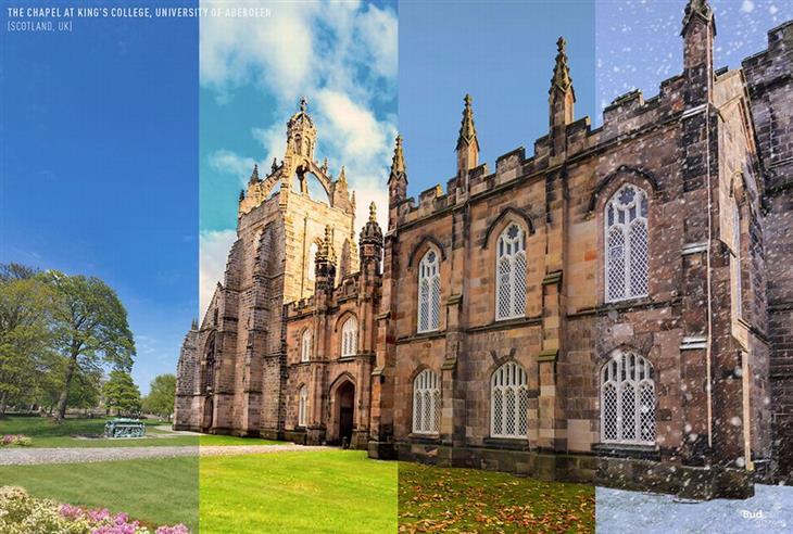 איך נראות עונות השנה במקומות שונים ברחבי העולם: קפלת קינגס קולג' באוניברסיטת אברדין