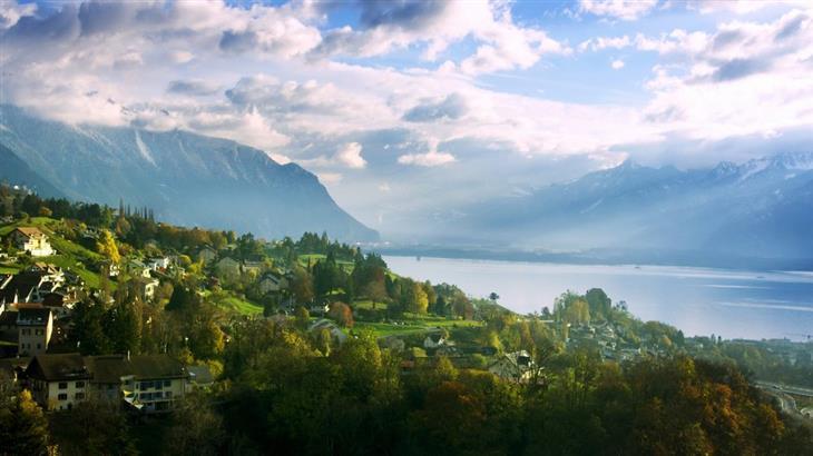 האזורים היפים ביותר בשווייץ: נוף של אזור אגם ז'נבה
