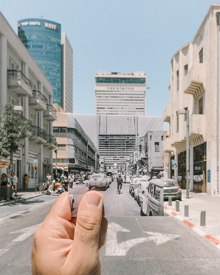 תמונות של תל אביב: צילום של תמונה של מגדל מאיר משנת 1964, על רקע המגדל בשנת 2019