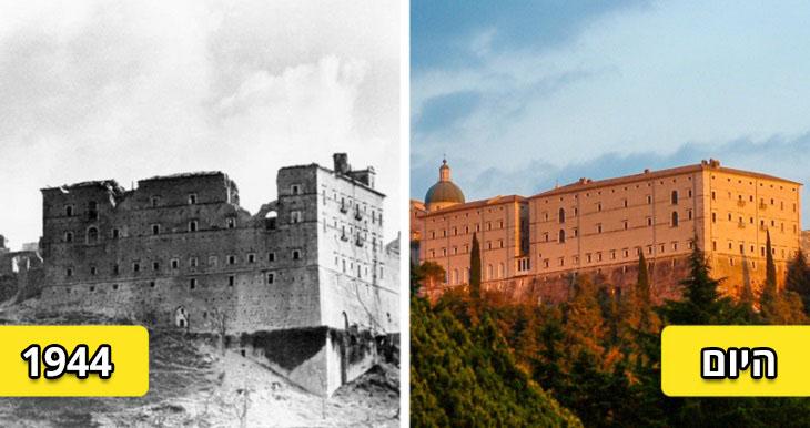 מבנים משוחזרים: מונטה קאסינו, בשנת 1944 והיום