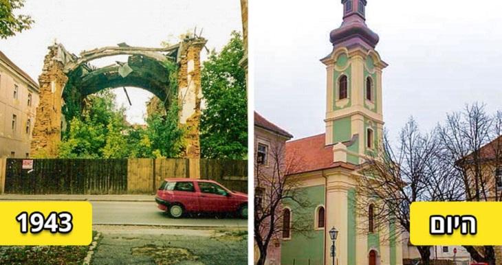 מבנים משוחזרים: כנסיית ניקולס הקדוש, בשנת 1943 והיום