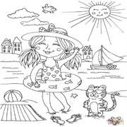 דפי צביעה: ילדה על חוף הים