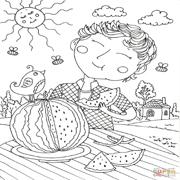 דפי צביעה: ילד אוכל אבטיח בחוץ