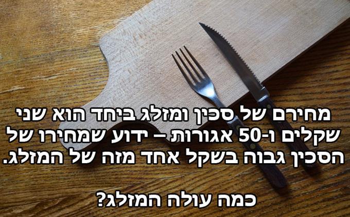 מבחן היגיון: מחירם של סכין ומזלג ביחד הוא שני שקלים ו-50 אגורות – ידוע שמחירו של הסכין גבוה בשקל אחד מזה של המזלג.  כמה עולה המזלג?