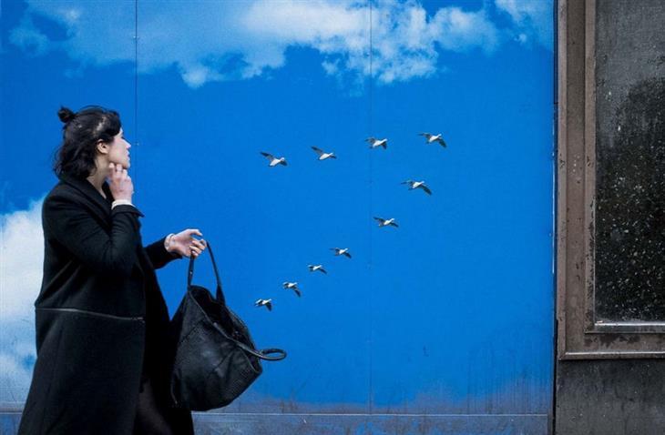 תמונות של צלם רחוב: ציפורים שיוצאות מתיק של אישה