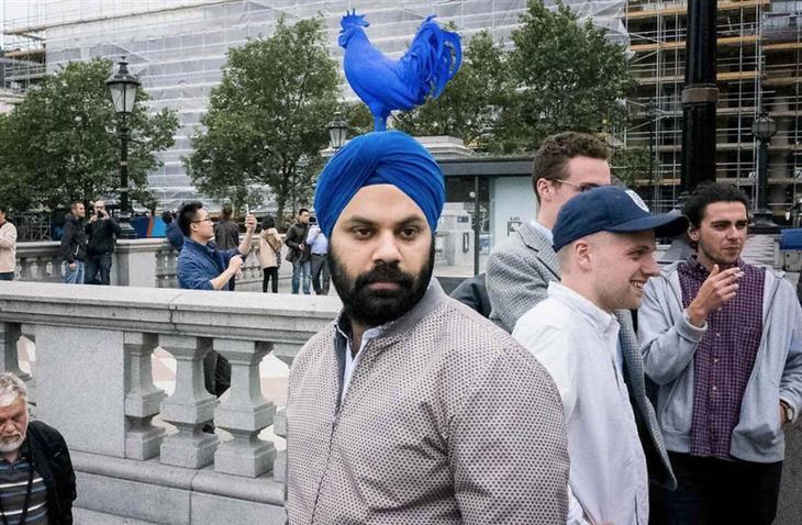 תמונות של צלם רחוב: פסל של תרנגול כחול בדיוק מאחורי אדם עם טורבן כחול
